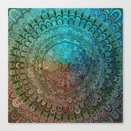 Cold Metal Flower Mandala Canvas Print