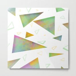 Triangles univers // Green yellow pink blue  Metal Print