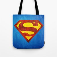 superman Tote Bags featuring Superman by S.Levis