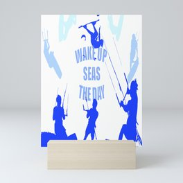 Wake Up Seas The Day Kiteboarder Royal Blue Mini Art Print
