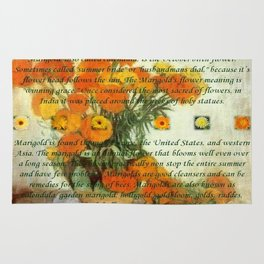 October's Child Birthday Card with Text and Marigolds Rug