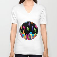 tetris V-neck T-shirts featuring Tetris Troubles. by Digi Treats 2