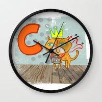 "randy c Wall Clocks featuring ""C"" by Greta Songe Designs"