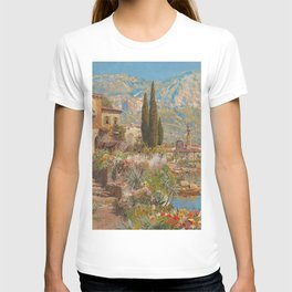 Lakeside View of Riva and Flower Gardens on Lake Garda, Italy landscape painting T-shirt