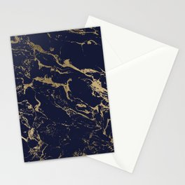 Modern luxury chic navy blue gold marble pattern Stationery Cards