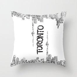 Doodling Toronto Throw Pillow
