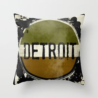 detroit Throw Pillows featuring detroit by Marshflowers