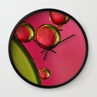 lime green Wall Clocks featuring Lime Green & Strawberry by Sharon Johnstone