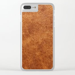 Brown vintage faux leather background Clear iPhone Case