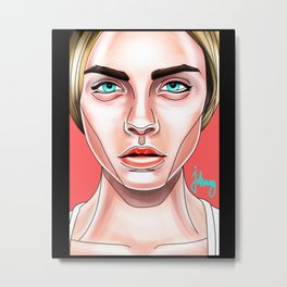 Cara Pop-Art Metal Print