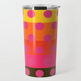 Earth and Summer Sky - Color Strips with Pink Dots Travel Mug