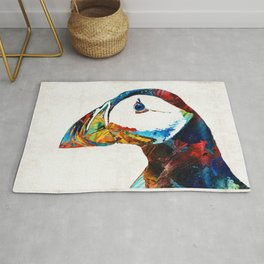 Colorful Puffin Art By Sharon Cummings Rug