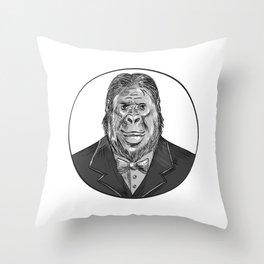 Gorilla Wearing Tuxedo Drawing Throw Pillow