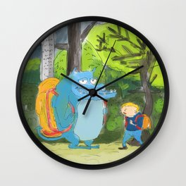 kid ant cute monster in the forest Wall Clock