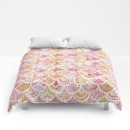 Sunset MERMAID DAYDREAMS Watercolor Scales Comforters