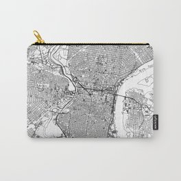 Philadelphia City Map United States White and Black Carry-All Pouch