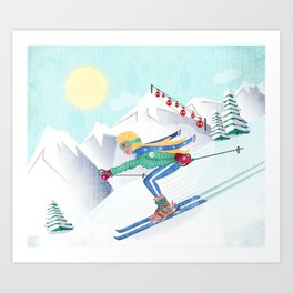 Skiing Girl Art Print