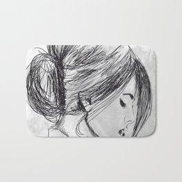 Hand drawn beautiful woman Bath Mat