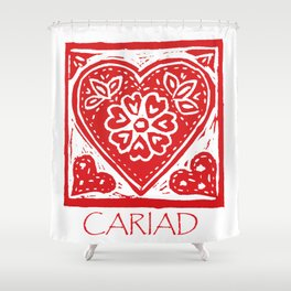 Cariad Darling sweetheart lino print red Shower Curtain