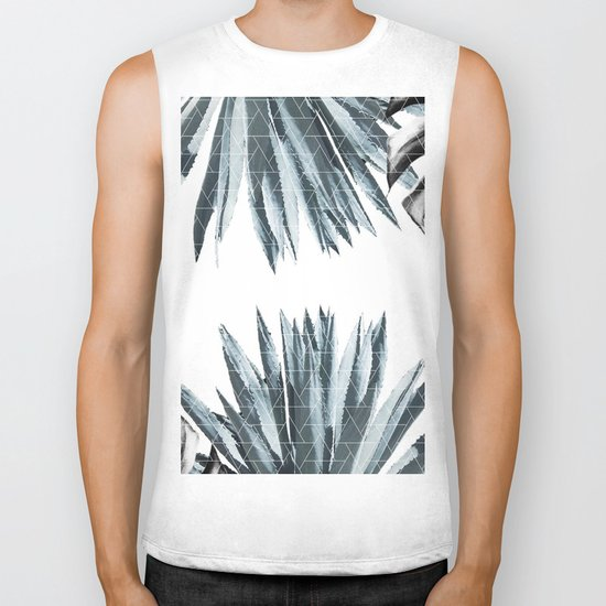Geometric agave & monstera Biker Tank