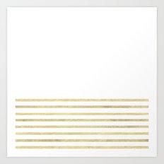White and Gold Stripes Art Print