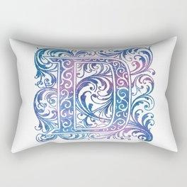 Letter D Antique Floral Letterpress Monogram Rectangular Pillow