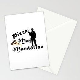Italian style pizza mafia mandolino Stationery Cards