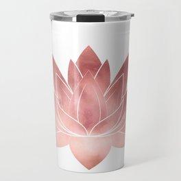 Pink Lotus Flower   Watercolor Texture Travel Mug