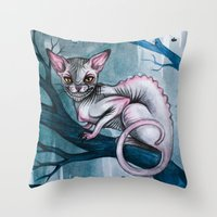 cheshire cat Throw Pillows featuring Cheshire Cat by Black Fury