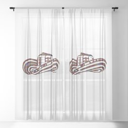 Colombian Sombrero Vueltiao in Mola Pattern Sheer Curtain