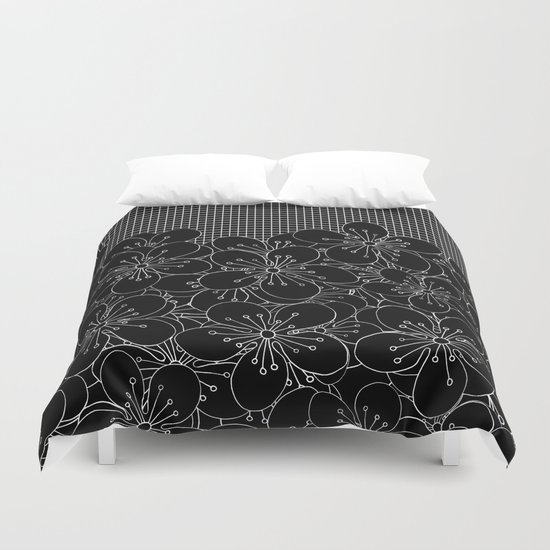 Cherry Blossom Grid Black Duvet Cover