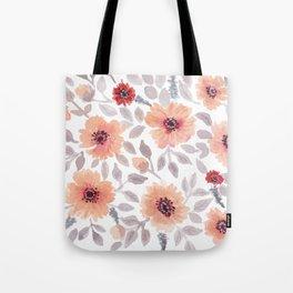 Watercolor . Salmon flowers . Tote Bag
