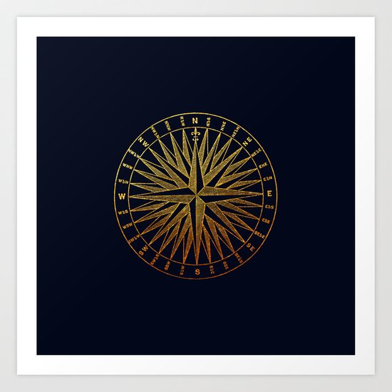 The golden compass- maritime print with gold ornament Art Print
