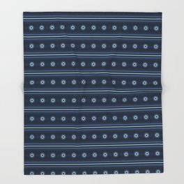 Indigo Blue Circle Stripes Horizontal Lines Background Throw Blanket