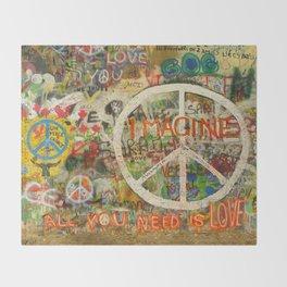 Peace Sign - Love - Graffiti Throw Blanket