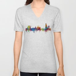 Basel Switzerland Skyline Unisex V-Neck
