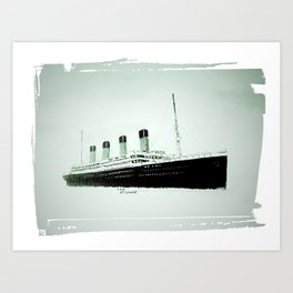 R.M.S Titanic as she leaves Belfast.(Fridge magnet. Art Print