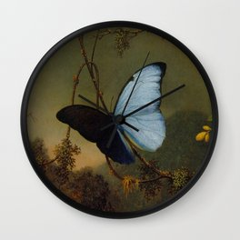Blue Morpho Butterfly 1865 By Martin Johnson Heade | Reproduction Wall Clock