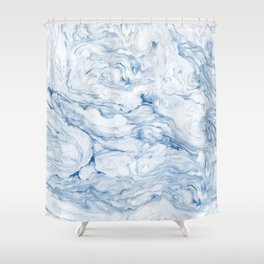Light navy marble Shower Curtain