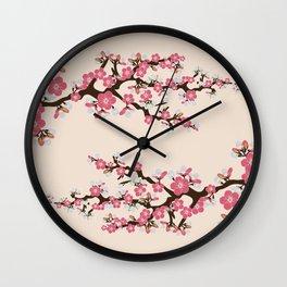 Japanese Sakura Cherry Blossoms (ivory/pink) Wall Clock