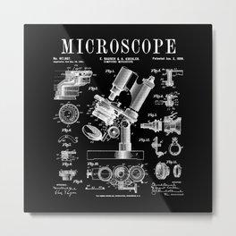 Microscope Biologist Science Vintage Patent Drawing Print Metal Print