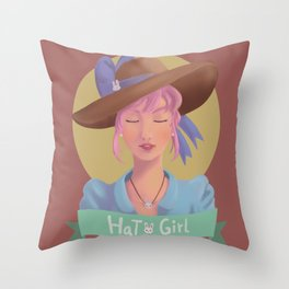 Hat Girl - Candy Color Throw Pillow