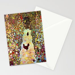 Gustav Klimt Garden with Roosters Stationery Cards