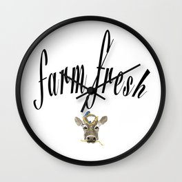 Farm Fresh Cow Art Wall Clock