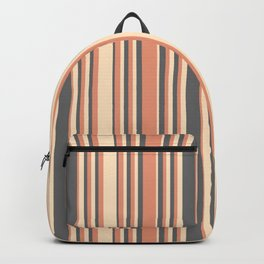 Bisque, Dark Salmon, and Dim Grey Colored Lined/Striped Pattern Backpack