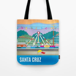 Santa Cruz, California - Skyline Illustration by Loose Petals Tote Bag