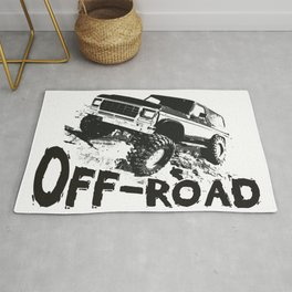 A distressed rock crawling off-road design Rug