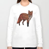 snow Long Sleeve T-shirts featuring Red Fox by Ben Geiger