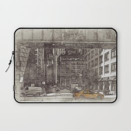 NYC Yellow Cabs Fish Market - SKETCH Laptop Sleeve