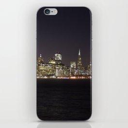 SF at night as seen from Treasure Island. iPhone Skin